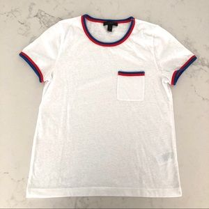 J. Crew White T-Shirt w Pocket and Stripes Detail